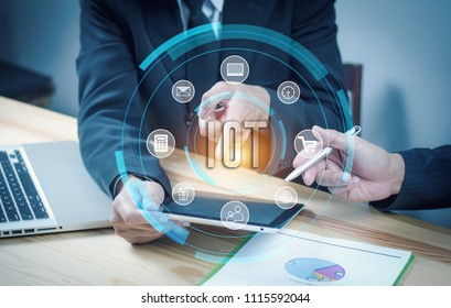 IOT. Internet of Thing concept. Hands of business people working in office with documents. Polygonal mesh art. effect of technological innovation,