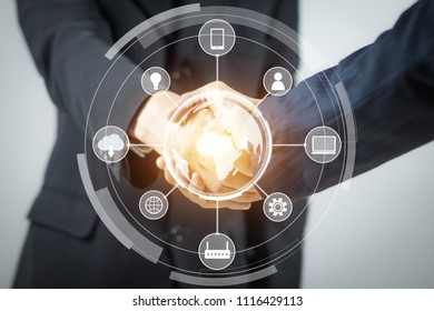 IOT. Internet of Thing concept. Handshake. Businessmen making handshake. Abstract of Business handshake. Polygonal mesh art. effect of technological innovation,