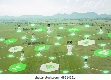 iot, internet of things, agriculture concept, Smart Robotic (artificial intelligence/ ai) network use for management , control , monitoring, and detect with the sensor in the farm, field.