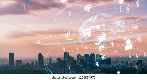 IoT (Internet of Things) concept. Smart city. Wireless communication network. LPWA.