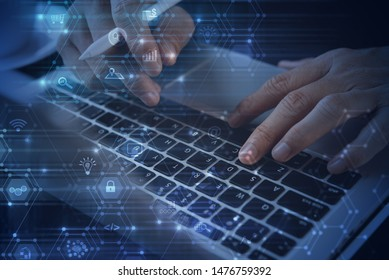 IoT Internet of Things, E-commerce, Online shopping, Apps development. Man using digital tablet, laptop computer with web icons, digital marketing, smart business and technology background