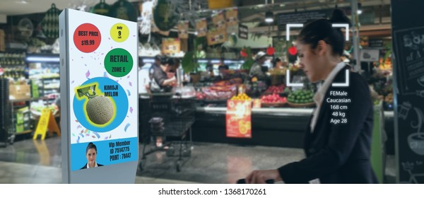 iot machine learning with human , object recognition which use artificial intelligence to analytic concept, it invents to prediction the customer needed with augmented reality on the digital Signage