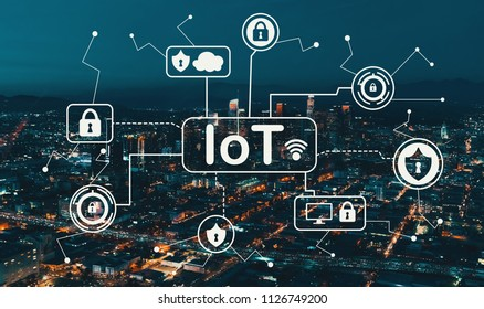 IoT security theme with Downtown Los Angeles at night