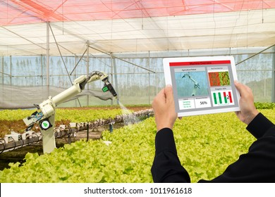 iot smart industry robot 4.0 agriculture concept,industrial agronomist,farmer using software Artificial intelligence technology in tablet to monitoring condition and control automatic robotics in farm