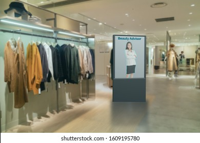 iot smart retail futuristic technology concept, smart Digital Signage display with virtual or augmented reality in the shop or retail advice to choose select ,buy cloths and give a rating of products