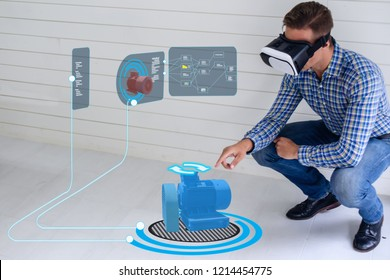 iot smart technology futuristic in industry 4.0 concept, engineer use augmented mixed virtual reality to education and training, repairs and maintenance, sales, product and site design, and more.