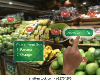 iot,internet of things marketing concepts, customer use augmented reality to buy the product by use ar application to add to cart display at retail and show the current list display in real time