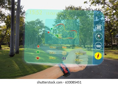 iot,internet of things,smart sport concept, man use smart watch with augmented reality technology show the ui of running data on display of device (calorie,distance,heart rate,pace,duration,steps)