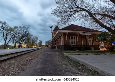IOWA CITY, IOWA - APRIL 18, 2017: The old Rock Island Railroad station in Iowa City, IA on a spring evening. In addition to the university, the city is also a UNESCO-designated City of Literature.