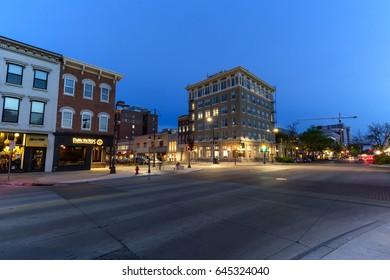 IOWA CITY, IOWA - APRIL 23, 2017: Downtown Iowa City, IA on a spring evening. The city is the home to the University of Iowa and is the only UNESCO-designated City of Literature in the US.