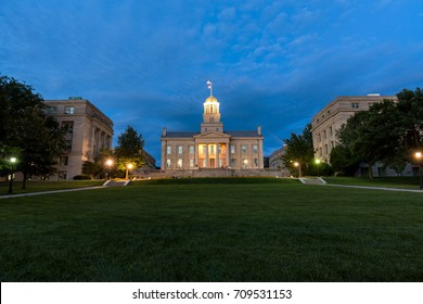 IOWA CITY, IOWA - August 13, 2017: The old state capitol building, now part of the University of Iowa. In addition to the university, the city is also a UNESCO-designated City of Literature.