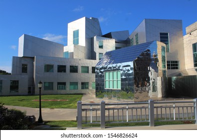 IOWA CITY, IOWA - AUGUST 2019: Iowa Advanced Technology Laboratories at the University of Iowa in August 2019 in IA. The innovative building was designed by architect Frank Gehry.