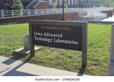 IOWA CITY, IOWA - AUGUST 2019: Sign for Iowa Advanced Technology Laboratories at the University of Iowa in August 2019 in IA.