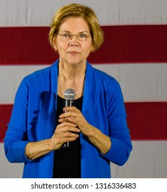 Iowa City, IA/USA-02102019: The day after launching her presidential campaign, Elizabeth Warren addresses enthusiastic crowd of over 2000 on a snowy afternoon.