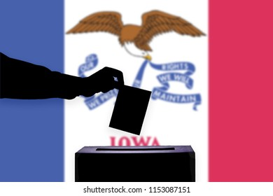 Iowa flag with ballot box during elections / referendum
