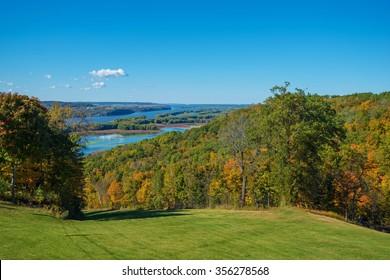 Iowa and Illinois Mississippi River States Border. Scenic Iowa and Illinois Landscape.