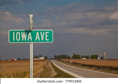 IOWA Road Sign in typical landscape