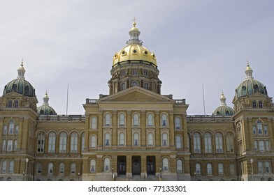 Iowa State Capitol building showing entrance and facade including top of domes