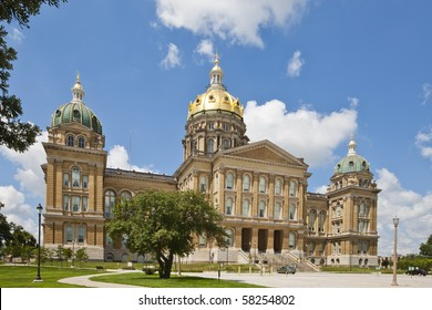 The Iowa State Capitol is the state capitol building of the U.S. state of Iowa. Housing the Iowa General Assembly, it is located in the state capital of Des Moines at East 9th Street and Grand Ave.
