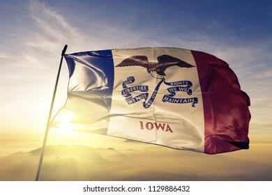 Iowa state flag textile cloth fabric waving on the top