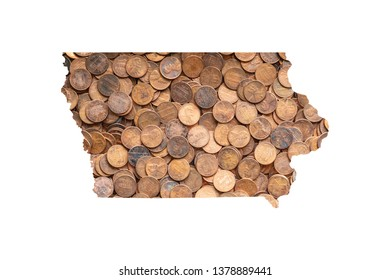 Iowa State Map and Money Concept, Piles of Coins, Pennies