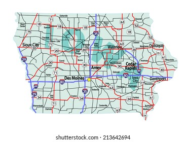 Iowa state road map with Interstates and U.S. Highways. All elements on separate layers for easy editing. Raster JPG.