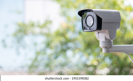 IP CCTV camera install by have water proof cover to protect camera with home security system concept with blur background.