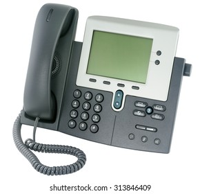 IP office telephone set with LCD display isolated on white background