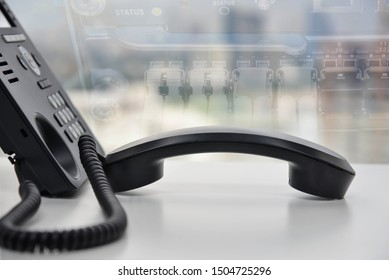 IP Phone double exposure of blue LED world map and PBX for communication concept
