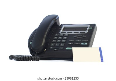 IP phone with visit card isolated on white