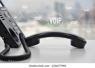 IP Phone with voip icon for device connect concept