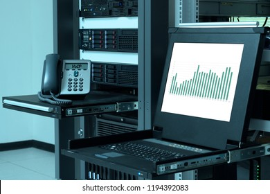 IP telephone device and and kvm monitor with bar chart on white background in data center, VOIP system management and monitoring