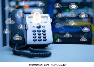 IP Telephony cloud services concept, ip phone device on blurred data center and connection of cloud services icon