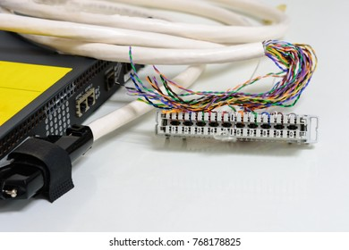 IP Telephony system, Telephone cabling patch panel with twisted pairs cables for digital and analog phone connected to sip trunk voice gateway device