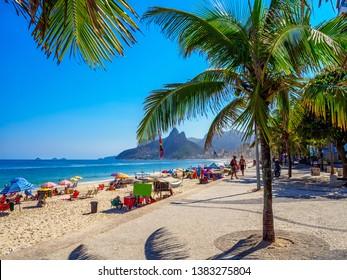 Ipanema beach and Arpoador with  in Rio de Janeiro, Brazil. Ipanema beach is the most famous beach of Rio de Janeiro, Brazil. Cityscape of Rio de Janeiro