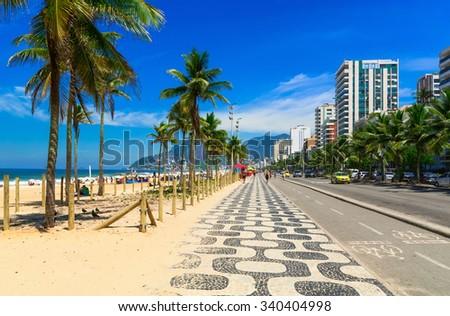 Ipanema Beach Mosaic Sidewalk Rio De Stock Photo (Edit Now ...