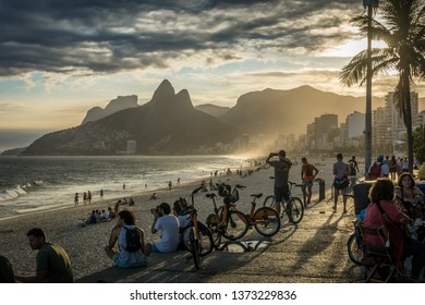 Ipanema Beach, Rio de Janeiro / Brasil - April 15 2019: Lifestyle at sunset on Ipanema Beach, Rio de Janeiro, Brasil