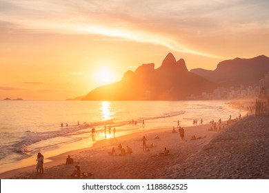 Ipanema Beach and Two Brothers (Dois Irmaos) Mountain at sunset - Rio de Janeiro, Brazil