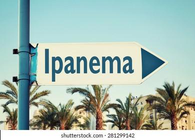 Ipanema Road Sign. Rio De Janeiro Brazil