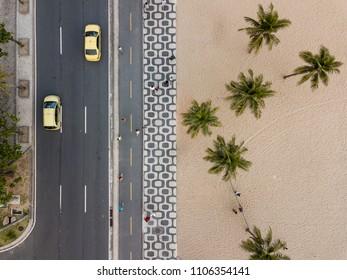 Ipanema Sidewalk, in Rio de Janeiro, viewd from top