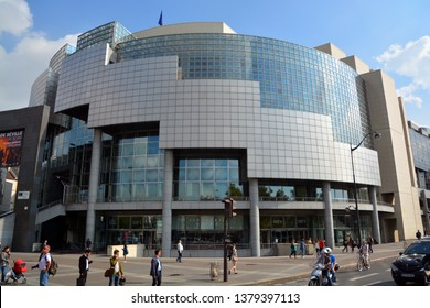 iPARIS FRANCE 10 20 2014: Bastille modern opera house in Paris, France. Inaugurated in 1989 as part of President François Mitterrand', it became the main facility of the Paris National Opera