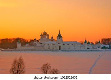 Ipatievsky monastery at sunset in winter, Kostroma, Russia.
