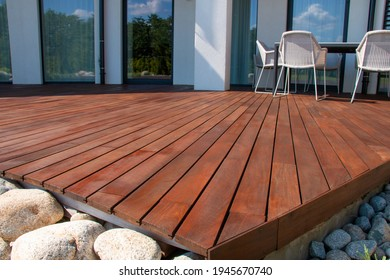 Ipe wood deck, modern house design with wooden patio, low angle view of tropical hardwood decking