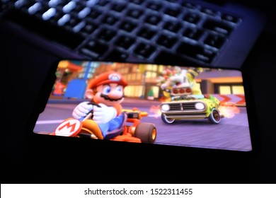 Iphone 11 pro with the Mario Kart Tour that is a racing video game developed by Nintendo for Android and iOS platforms. United States, New York, Thursday, October 3, 2019.