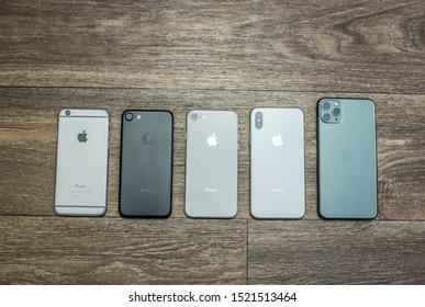 iPhone 6 through iPhone 11 PRO MAX lineup. Portland, Oregon / USA - October 2019.