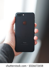 Iphone 7 plus in the hand, New York, USA - 16 February  2018