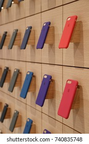 The iPhone Cases are seen at the new Apple store is seen along the Chicago River, in Chicago, Illinois, U.S., October 19, 2017.