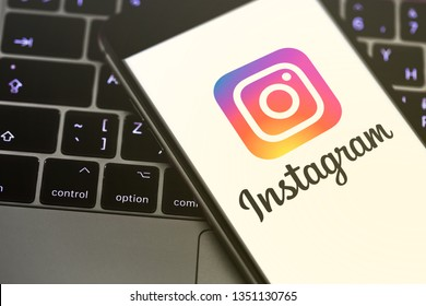 iPhone displaying the Instagram logo. Social media. Instagram is a photo-sharing app for smartphones. Moscow, Russia - March 26, 2019