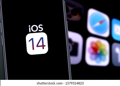 Iphone with the supposed logo of IOS 14, the new apple system to be introduced in 2020. United States, California December 4, 2020