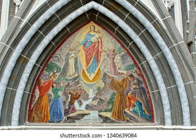 IPIALES, COLOMBIA - MARCH 15, 2016:  Colorful tile mosaic on Las Lajas Sanctuary